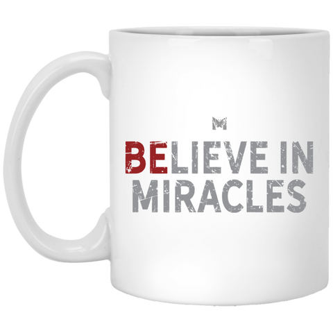 Believe In Miracles - Small Black Coffee Cup, Red Letters - On Table With Marshmallows