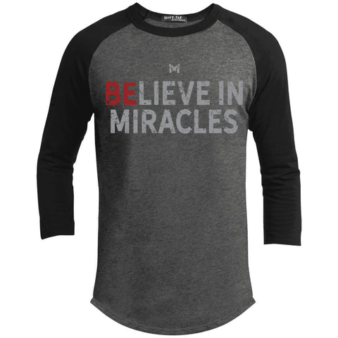 """Believe In Miracles"" Men's Shirts-Apparel-Baseball Tee-Dark Heather Grey/Black-S-The Miracles Store"