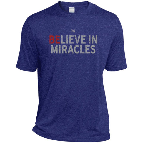 """Believe In Miracles"" Men's Shirts-Apparel-Dri-Fit Moisture-Wicking-Cobalt Heather-S-The Miracles Store"