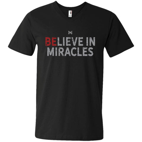 """Believe In Miracles"" Men's Shirts-Apparel-V-Neck-Black-S-The Miracles Store"