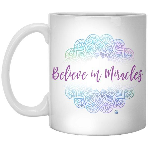 """Believe In Miracles"" - Mug With Beautiful Mandala Design - Drinkware - Blue - -"