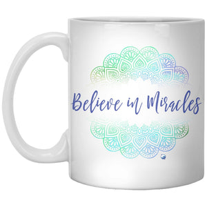"""Believe In Miracles"" - Mug With Beautiful Mandala Design - Drinkware - Green - -"