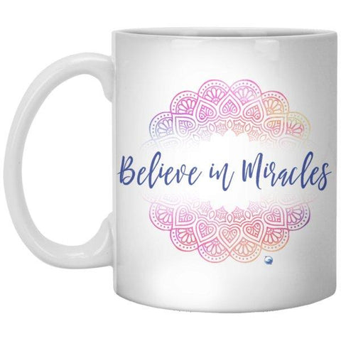 """Believe In Miracles"" - Mug With Beautiful Mandala Design - Drinkware - Pink - -"