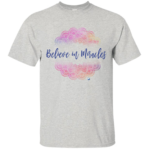 """Believe in Miracles"" - Shirts And Tank Tops - Pink Mandala Design - Apparel - Custom Ultra Cotton T-Shirt - Ash - Small"