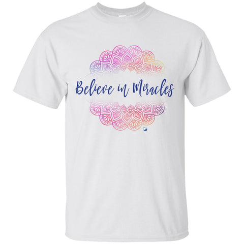 """Believe in Miracles"" - Shirts And Tank Tops - Pink Mandala Design - Apparel - Custom Ultra Cotton T-Shirt - White - Small"