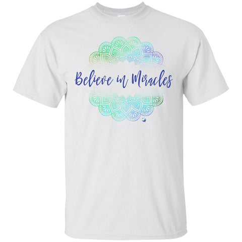 """Believe In Miracles"" - Shirts And Tanks For Women - Green Mandala - Apparel - Custom Ultra Cotton T-Shirt - White - Small"