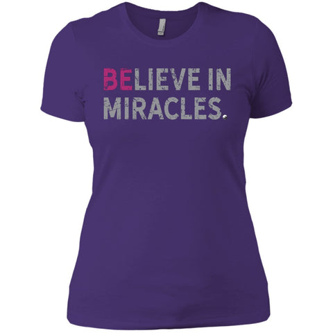 """Believe In Miracles"" - Shirts & Tank Tops for Women - Sporty Design - Apparel - Boyfriend Tee - Purple - Small"