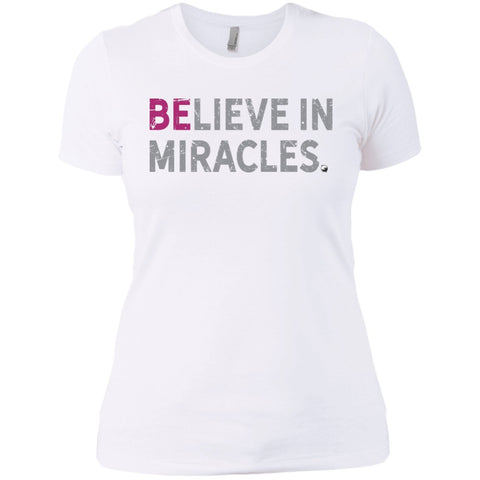 """Believe In Miracles"" - Shirts & Tank Tops for Women - Sporty Design - Apparel - Boyfriend Tee - White - Small"