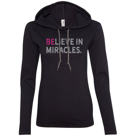 """Believe In Miracles"" - Shirts & Tank Tops for Women - Sporty Design - Apparel - Long Sleeve T-shirt Hoodie - Black/Dark Grey - Small"