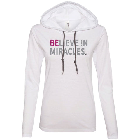 """Believe In Miracles"" - Shirts & Tank Tops for Women - Sporty Design - Apparel - Long Sleeve T-shirt Hoodie - White/Dark Grey - Small"
