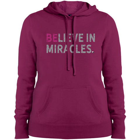 """Believe In Miracles"" - Shirts & Tank Tops for Women - Sporty Design - Apparel - Sweatshirt - Pink Rush - Small"