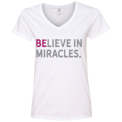 """Believe In Miracles"" - Shirts & Tank Tops for Women - Sporty Design - Apparel - V-Neck Tee - White - Small"