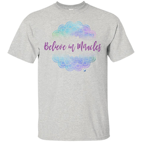 """Believe in Miracles"" - Women's Shirts & Tank Tops - Blue Mandala - Apparel - Custom Ultra Cotton T-Shirt - Ash - Small"