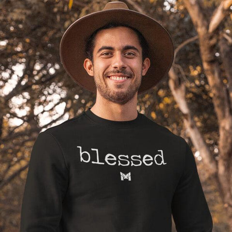 """Blessed"" Adult Crewneck Sweatshirt - Classic-Sweatshirts-Black-S-The Miracles Store"