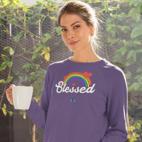 """Blessed"" Adult Crewneck Sweatshirt - Rainbow & Hearts-Sweatshirts-Purple-S-The Miracles Store"