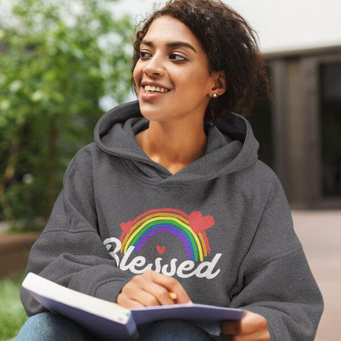 """Blessed"" Adult Hoodie Sweatshirt - Rainbow & Hearts-Sweatshirts-Dark Grey-S-The Miracles Store"