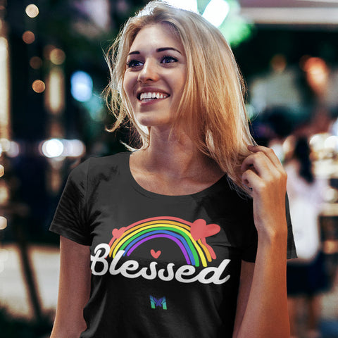 Woman Wearing Blessed Black Crewneck Unisex T-Shirt