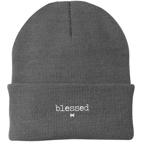 """Blessed"" Embroidered Knit Cap / Beanie - Classic-Hats-Grey-The Miracles Store"