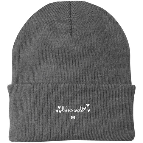 """Blessed"" Embroidered Knit Cap / Beanie - Elegant-Hats-Grey-The Miracles Store"
