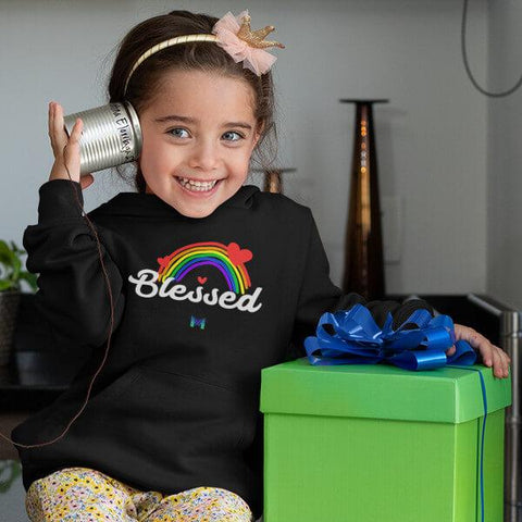 """Blessed"" Toddler Fleece Hoodie - Rainbow & Hearts-Sweatshirts-The Miracles Store"