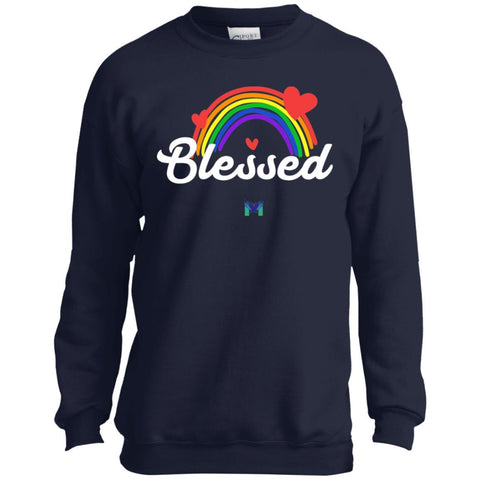 """Blessed"" Youth Crewneck Sweatshirt - Rainbow & Hearts-Sweatshirts-Black-YXS-The Miracles Store"