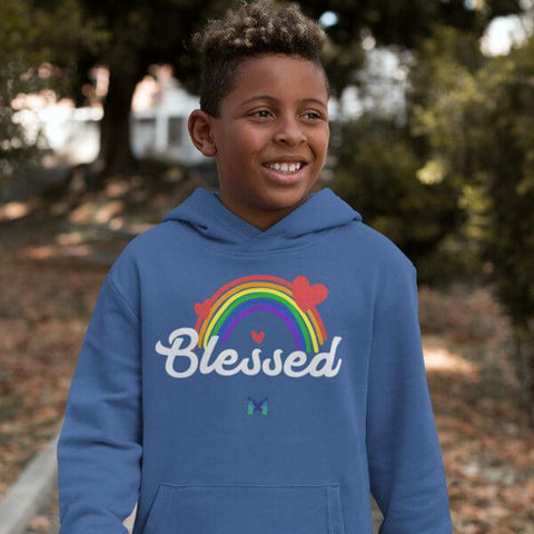 """Blessed"" Youth Hoodie Sweatshirt - Rainbow & Hearts-Sweatshirts-The Miracles Store"