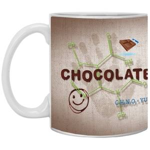 Chocolate Molecule Mugs - Drinkware - 11oz. Ceramic Mug - White - One Size