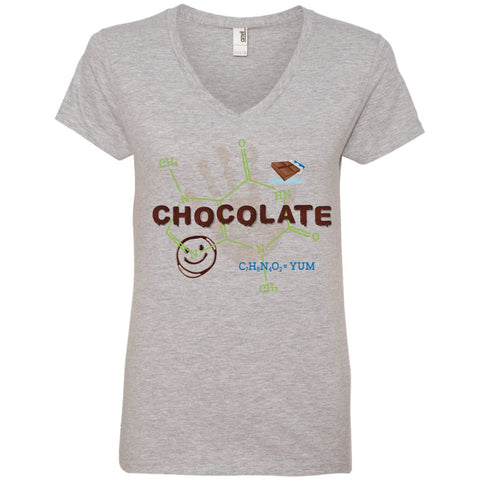 Chocolate Molecule T's & Tops - Apparel - Ladies' V-Neck Tee - Heather Grey - Small