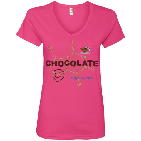 Chocolate Molecule T's & Tops - Apparel - Ladies' V-Neck Tee - Hot Pink - Small