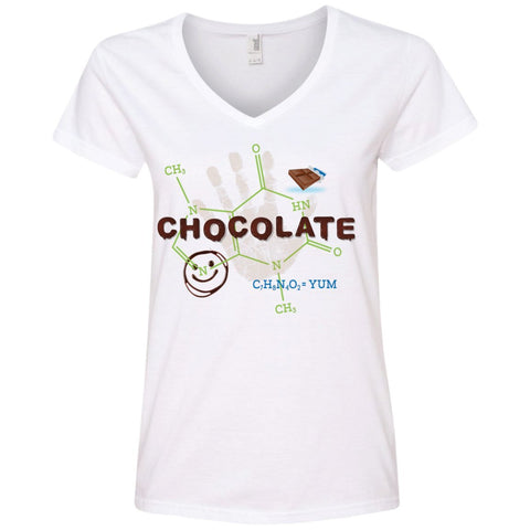Chocolate Molecule T's & Tops - Apparel - Ladies' V-Neck Tee - White - Small