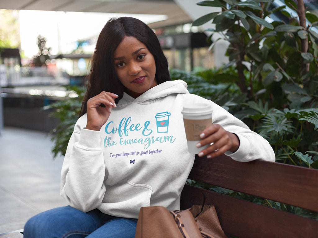 """Coffee & The Enneagram - Go Great Together"" - Unisex Hoodie Sweatshirt-Sweatshirts-White-S-The Miracles Store"