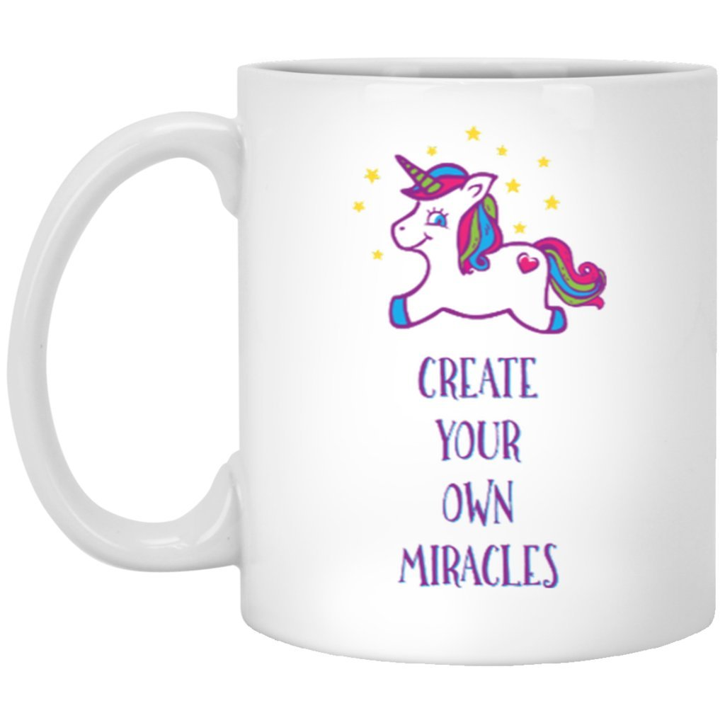"""Create Your Own Miracles"" - Mug for Coffee & Tea - Drinkware - Purple Unicorn - 11oz (Small) -"