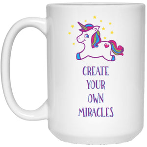 """Create Your Own Miracles"" - Mug for Coffee & Tea - Drinkware - Purple Unicorn - 15oz (Large) -"
