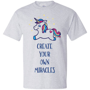 Create Your Own Miracles Tops - Blue Unicorn - Apparel - Hanes Beefy Tee - Ash - Small