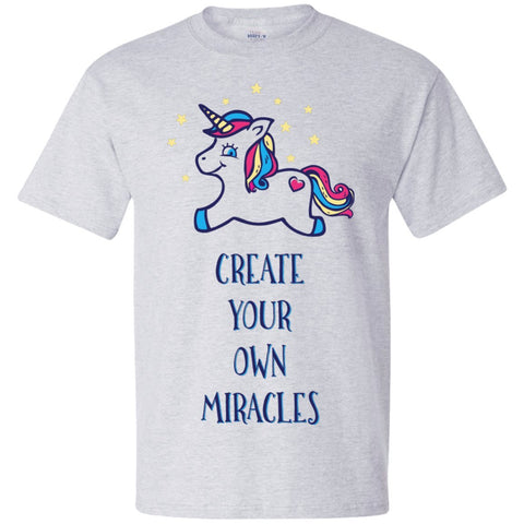 Create Your Own Miracles Tops - Blue Unicorn - Apparel - Scoop Neck Tee - Heather White - Small