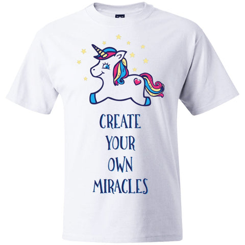 Create Your Own Miracles Tops - Blue Unicorn - Apparel - Hanes Beefy Tee - White - Small