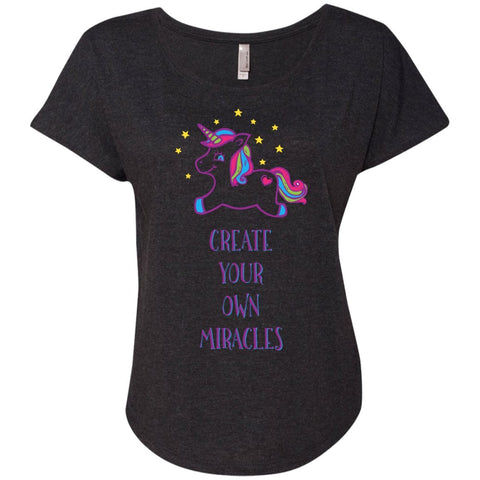 Create Your Own Miracles Tops - Purple Unicorn - Apparel - Dolman Sleeve Tee - Vintage Black - X-Small