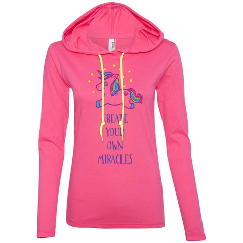 Create Your Own Miracles Tops - Purple Unicorn - Apparel - Long Sleeve Tee - Hot Pink/Neon Yellow - Small