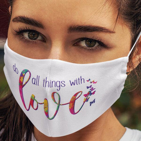 """Do All Things With Love"" Face Mask-Apparel-White-The Miracles Store"