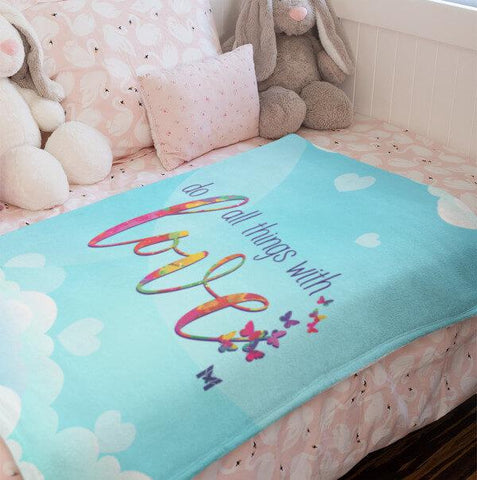 """Do All Things With Love"" Plush Fleece Blanket-Apparel-The Miracles Store"