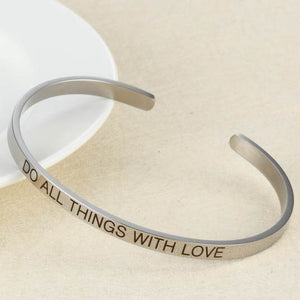 Do All Things With Love - Stainless Steel Bangle - Closeup
