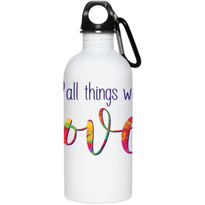"""Do All Things With Love"" - Stainless Steel Water Bottle (Small) - Drinkware - White - One Size -"
