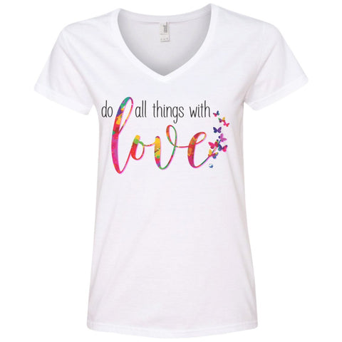 Do All Things With Love Tee's and Tops - Apparel - Ladies' V-Neck Tee - White - Small