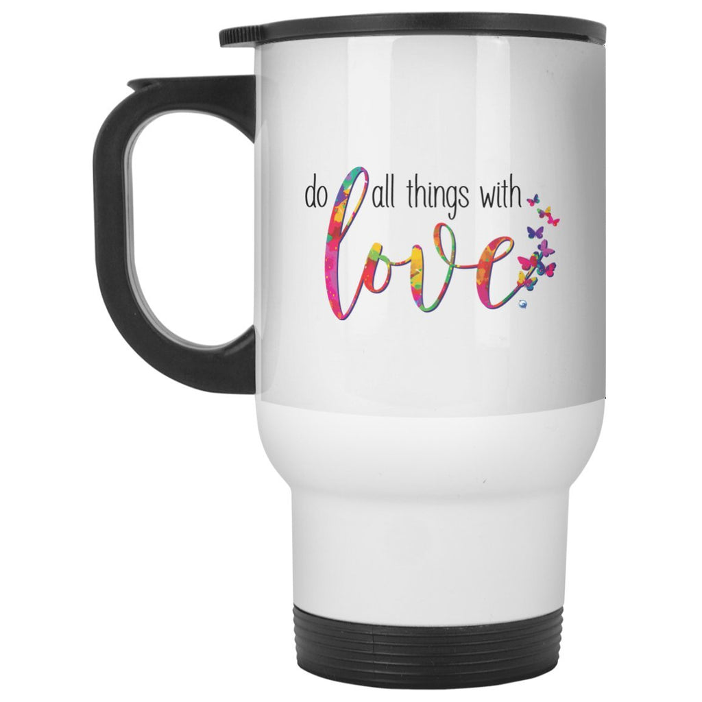 Do All Things With Love Travel Mug - 14oz - Drinkware - 14oz. Travel Mug - -