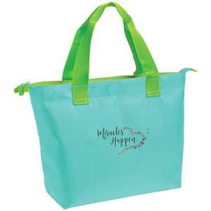 "Embroidered ""Miracles Happen"" Zippered Tote with Butterfly Motif - Bags - Aqua Splash/Bright Lime - One Size -"