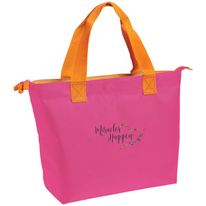 "Embroidered ""Miracles Happen"" Zippered Tote with Butterfly Motif - Bags - Tropical Pink/Tangerine - One Size -"