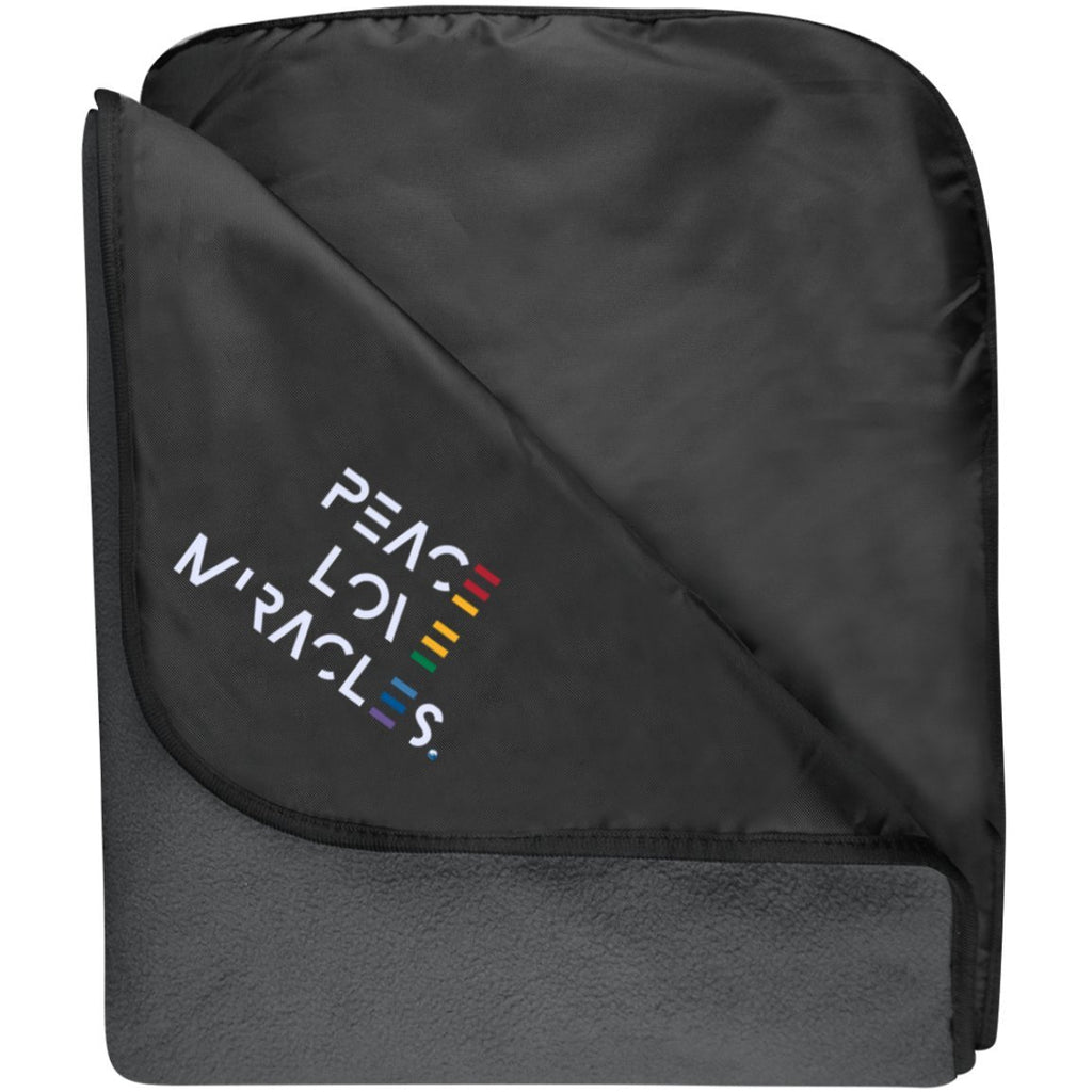 Embroidered Peace, Love, Miracles Fleece & Poly Travel Blanket - Blankets - Black/Lead Grey - One Size -