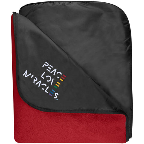 Embroidered Peace, Love, Miracles Fleece & Poly Travel Blanket - Blankets - Black/Rich Red - One Size -