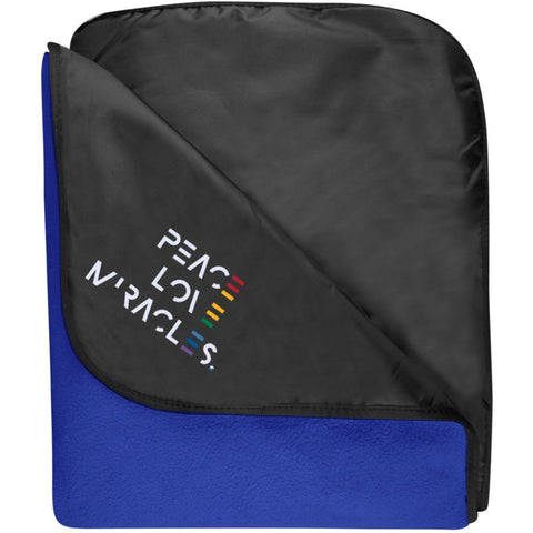 Embroidered Peace, Love, Miracles Fleece & Poly Travel Blanket - Blankets - Black/True Royal - One Size -