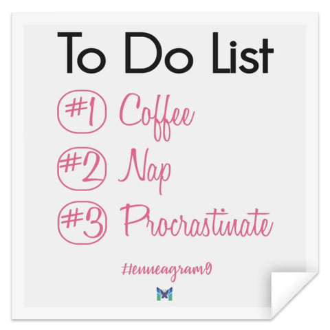"Enneagram 9 - ""To Do List"" - Sticker-Accessories-Pink-Small (3"" x 3"")-The Miracles Store"